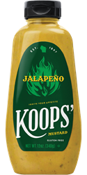 Koops' Jalapeno Mustard, 12 oz. Bottle